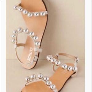 Anthropologie BHLDN Schutz Silver Ball Sandals